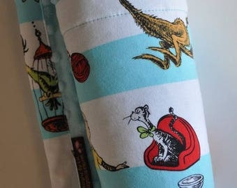 Gender Neutral Baby Minky Blanket, Snuggle Size, Dr. Seuss and White Minky