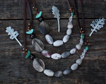 Stardust turquoise bird - smoke fired ceramic necklace 28.1 inches long