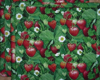 """Pick a Print-Set of 2 (8"""" ) Chocolates-Strawberries-Tossed Fruit-Quilted-Handmade-Insulated-Hot Pads-Pot Holders"""