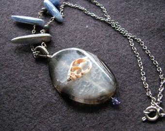 Sliced agate necklace | chunky statement | druzy stone | pendant | kyanite | seashell
