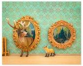 Deer and fox art surreal woodland animal art: Pop Art