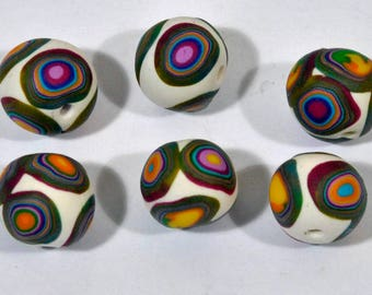 Polymer Clay Beads in Multi-Colors -set of six