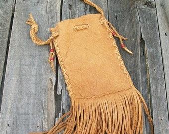 ON SALE Fringed  medicine bag ,  Fringed buckskin cedar bag ,  Shaman's bag , Leather wrist bag