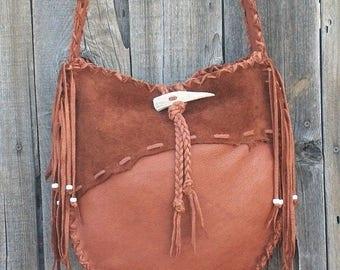 ON SALE Leather cross body bag , Large leather tote, Designer handbag, Leather tote with fringe,  Fringed Leather handbag