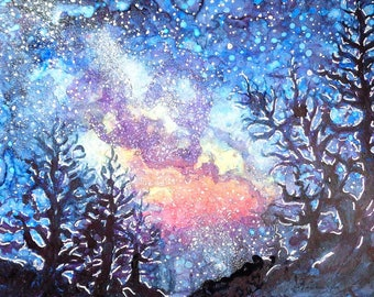 Galaxy Spring Night by CheyAnne Sexton small ORIGINAL watercolor bright starry night 4x6