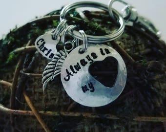 Always in my heart rememberance keychain