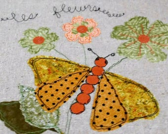 Butterfly Applique Free Motion Embroidered Picture