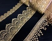 "1"", 3"", 3.5"" (2.5, 7.5, 8 cm) Wide Dark Gold Crochet Filet Style Metallic Lace Venice Trim Renaissance Inspired / Costumes Dresses Formal ST"
