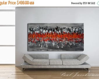 "17% OFF /ONE WEEK Only/ Enormous The City Scape Skyline Knife Abstract by Paul Juszkiewicz 60""x 30"" black gray red"