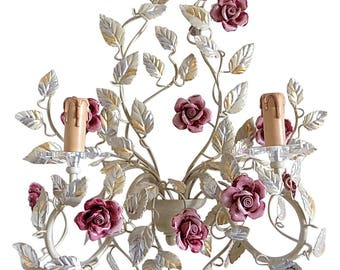 Gorgeous Ivory gold and silver wrought iron sconce with pink ceramic roses