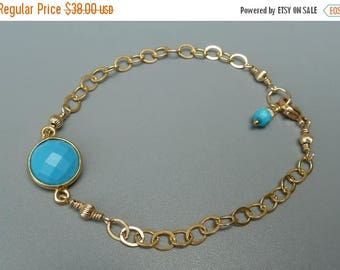 On Sale Gemstone Stacking Bracelet, Turquoise Bracelet, Gemstone Layering Bracelet, Delicate Bracelet, Gold Stacking Bracelet, December Birt