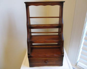 vintage wooden spice rack with drawer hang or stand retro kitchen storage shelving