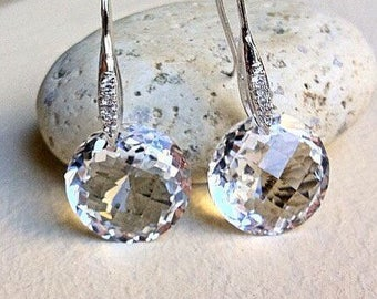 Clear Quartz Sterling Pave Earrings.  Pave French hooks.
