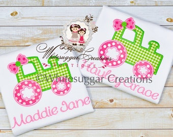 Girls Tractor Shirt - Tractor Personalized Girls Shirts - Baby Girl Farm Theme Outfit - Pink Tractor Shirt, Tractor Outfit, Tractor T-Shirt