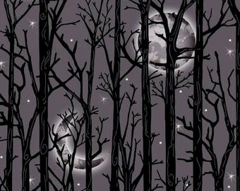 Fright Night from Henry Glass Fabrics - Full or Half Yard Halloween Black Trees with Full Moon and Quarter Moon Black Gray Halloween