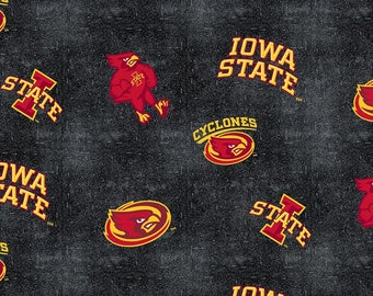 Iowa State Cyclones fabric from Sykel Enterprises - Full or Half Yard Iowa State and Cy on Black and Gray