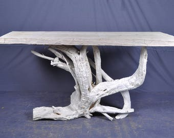 Sun bleached solid top driftwood sofa/foyer table