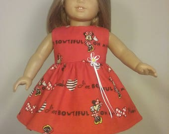 18 inch Doll Clothes Red Bowtiful Minnie Print Dress fits American Girl Doll Clothes Handmade