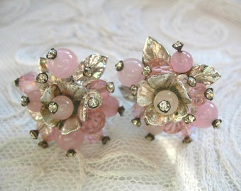 Vintage Rhinestone & Pink Glass Bead Cluster Earrings ~ Clip on ~ Vendome