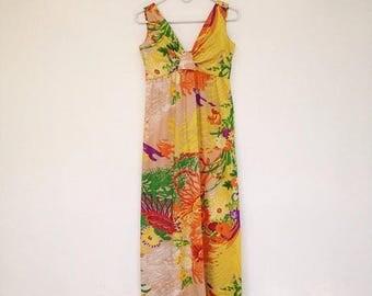 SALE Gorgeous Vintage 1970s Don Luis de España Spanish Designer Psychedelic Maxi Sundress