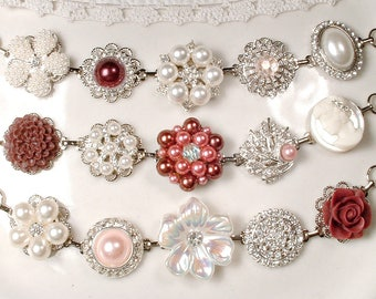 OOAK Burgundy, Blush Pink & Ivory Bridesmaid Bracelet Set 3 4 5 6 7 8 9, Pearl Rhinestone Silver Vintage Wedding Earring Bracelets Wine Rose