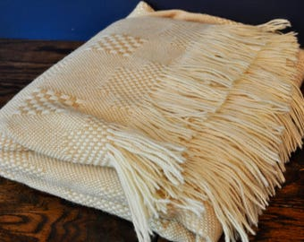 Vintage Cream Pendleton Woven Pure Wool Blanket