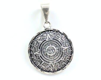 Vintage Sterling Silver Aztec Calendar Pendant Ancient Aztec Mesoamerican Culture Mexica Central Mexico Ancient Script Ancient Calendar