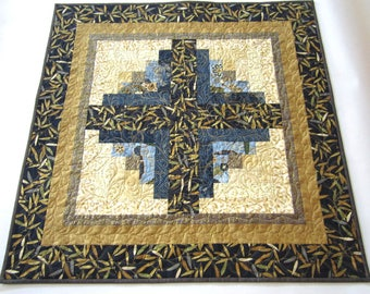 Table Topper Blue and Gold, Quilted Table Topper, Handmade Table Topper, Table Topper, Table Quilt, Small Quilt, Tabletop,