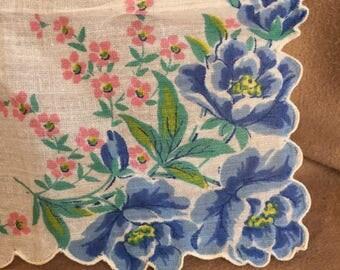 Vintage Handkerchief, Vintage 60s' Hankie, Cotton Handkerchief, Floral, PRETTY Colorful Floral. White, Blue, Green, Pink, 50's Retro Style