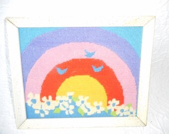 Vintage Handmade Needlepoint Rainbow Picture with Flowers and Birds-Sweet!