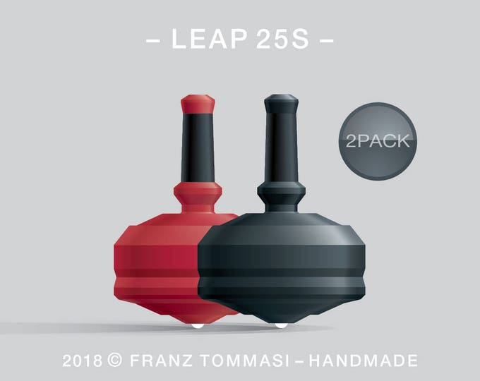 LEAP 25S 2PACK Red-Black – Value-priced set of precision handmade spin tops with ceramic tip and integrated rubber grip
