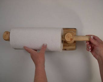 Rustic Log Paper Towel Holder Wall Mounted (Clear Finish) - Live Edge Back - Hand Crafted Rustic Cabin Kitchen Decor or Cottage Chic