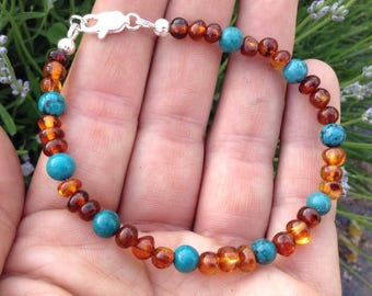 Baltic Amber and Turquoise bracelet - calming - support throat chakra and thyroid - reduce pain and inflammation