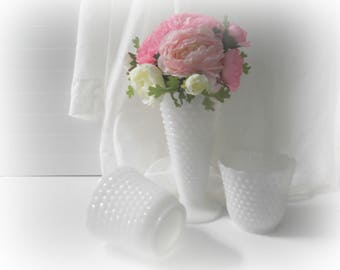 Hobnail Milk Glass Vases Boho Wedding Decor Three Milk Glass Centerpieces
