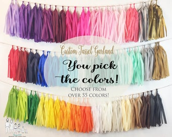 ASSEMBLED  Tassel Garland Tissue Paper Tassels Garland Kit Set of 16 to 50 Choose your Colors and quantity