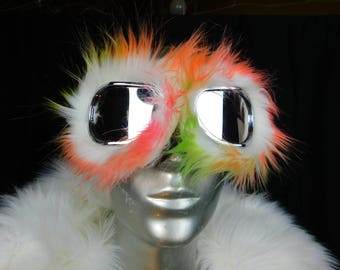 Rainbow Colors Furry Monster Dust Goggles Great fur Burning Man! - Furry Aviator Goggles -Fur Motorcycle Goggles -Pink Orange Green Faux Fur