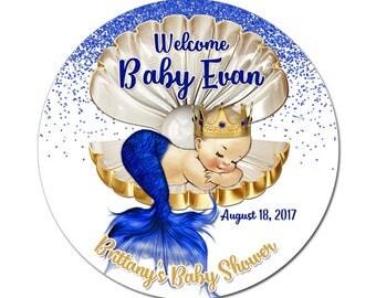 Custom Mermaid Baby Boy Shower Labels Blue Gold Round Glossy Designer Stickers