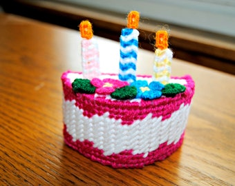 Plastic Canvas Birthday Cake with Candles Refrigerator Magnet