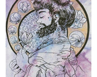 Rosalind the Bearded Lady Watercolor