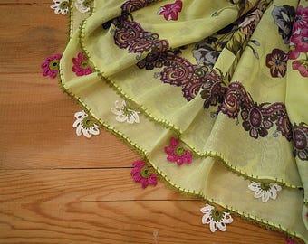turkish scarf, crochet trim, oya scarf, pistache pink
