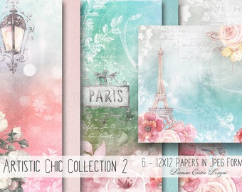 Floral papers, digital papers, water-colour paper, shabby chic papers, wedding papers, fantasy papers, whimsical paper, scrapbooking, cu ok