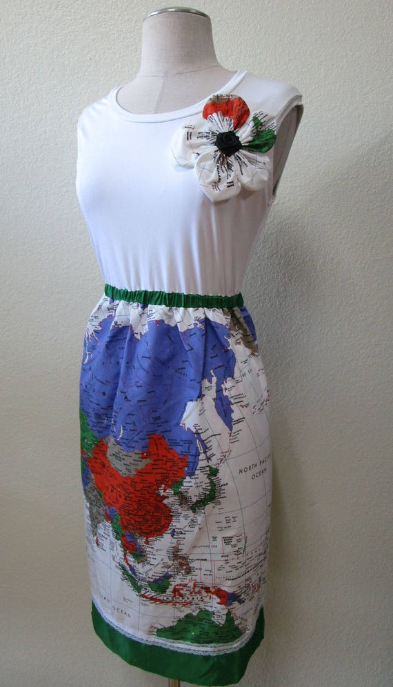 World map design dress with rose decoration plus made in USA product.(vn93)