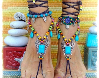 TURQUOISE Summer BAREFOOT Sandals FESTIVAL sandal Native Cowgirl Boho Chic Statement foot wear Nature Wedding crochet feet jewelry GPyoga