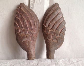 Antique Wooden Wings, Rustic 18C French Home Decor, Wedding & Christening Decor, Vintage Wedding. Pair / Xmas Decor