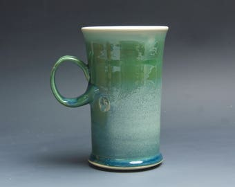 Pottery coffee mug, ceramic mug, stoneware tea cup glossy jade green 16 oz 4049