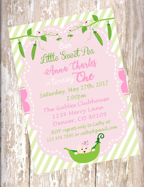 Sweet Pea 1st birthday invitation Sweet Pea baby shower pink and