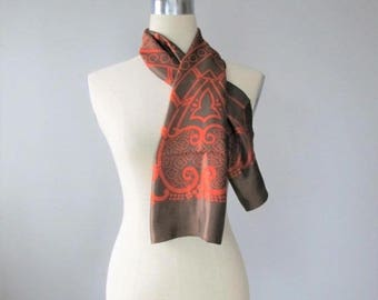50% OFF SALE Vintage 1960's Brown and Orange Scarf / Ladies Long Length Fabulous Retro Neck Scarf Italy