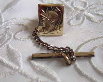 Vintage Tie Tack With Etched Head of Roman Soldier