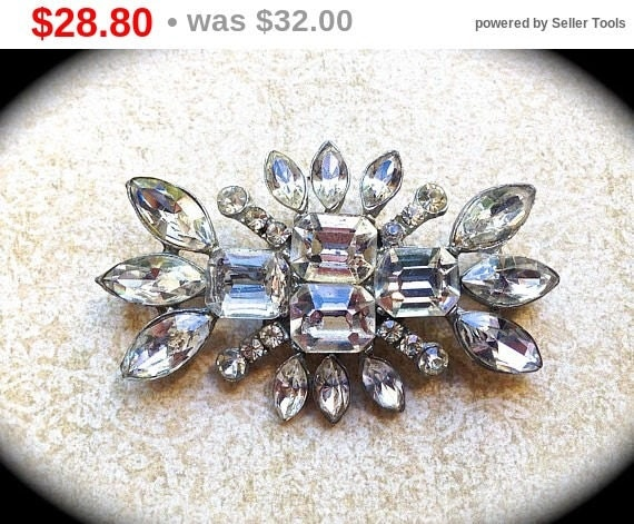 Summer Sale Bridal Rhinestone Brooch~ Bridal Pin~ Authentic Vintage - Crystal Rhinestone Brooch -- Art Deco Brooch - Vintage Jewelry- Wed...