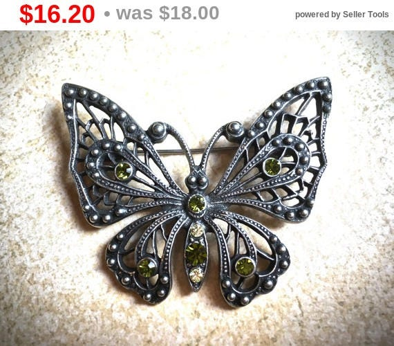 Summer Sale Green rhinestone butterfly vintage brooch